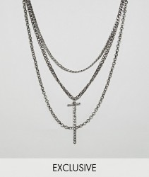Reclaimed Vintage inspired layered necklaces in burnished silver exclusive at ASOS - Silver