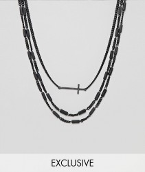 Reclaimed Vintage inspired layered necklaces with cross exclusive at ASOS - Silver