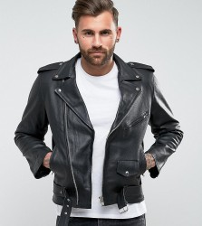 Reclaimed Vintage Inspired Leather Biker Jacket In Black - Black