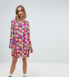Reclaimed Vintage inspired long sleeve mini smock dress - Pink