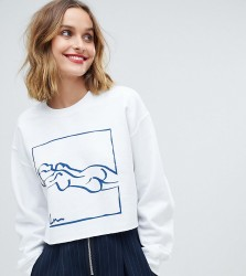Reclaimed Vintage inspired long sleeve sweat in white with art print - Black