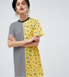 Reclaimed Vintage inspired Looney Tunes spliced tshirt dress - Multi