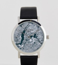 Reclaimed Vintage Inspired Manhattan Leather Watch In Black Exclusive To ASOS - Black