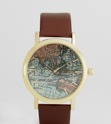 Reclaimed Vintage Inspired Map Leather Watch In Brown Exclusive To ASOS - Brown