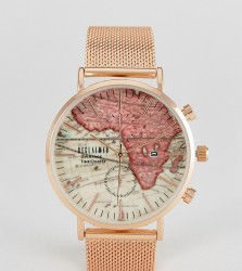 Reclaimed Vintage Inspired Map Mesh Watch In Rose Gold Exclusive to ASOS - Gold
