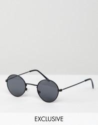Reclaimed Vintage Inspired Metal Round Sunglasses In Black - Black