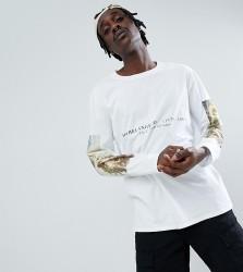 Reclaimed Vintage inspired Michaelangelo long sleeve t-shirt - White