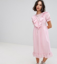 Reclaimed Vintage Inspired Midi Broderie Dress With Trims & Frills - Pink