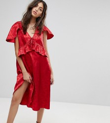 Reclaimed Vintage Inspired Midi Dress With Cape Detail - Red