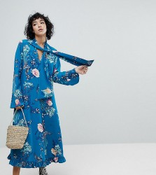 Reclaimed Vintage Inspired Midiaxi Dress With Flare Sleeve - Blue