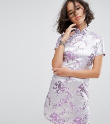 Reclaimed Vintage Inspired Mini Dress In Lilac Brocade With Diamante Trim - Purple