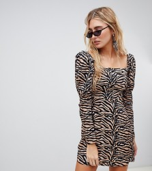 Reclaimed Vintage inspired Mini Dress with Shoulder Puff in tiger Print - Brown