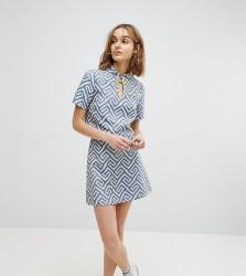 Reclaimed Vintage Inspired Mini Skirt In Geo Jacquard - Blue
