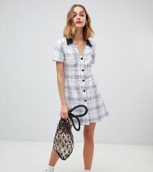 Reclaimed Vintage Inspired Mini Tea Dress in 90s Check Print - White