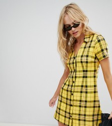 Reclaimed Vintage inspired mini tea dress in 90s check print - Yellow