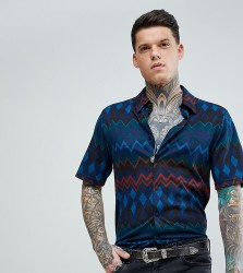 Reclaimed Vintage Inspired Muscle Shirt In Navy Zig Zag - Navy