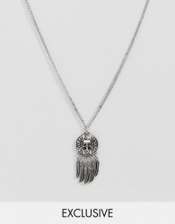 Reclaimed Vintage inspired necklace with coin and feather pendants in silver exclusive at ASOS - Silver
