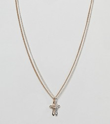 Reclaimed Vintage inspired necklace with double cross pendant exclusive at ASOS - Gold