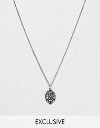 Reclaimed Vintage inspired necklace with st christopher pendant in silver exclusive at ASOS - Silver