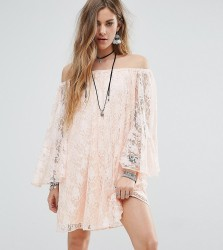 Reclaimed Vintage Inspired Off The Shoulder Swing Dress In Lace - Pink