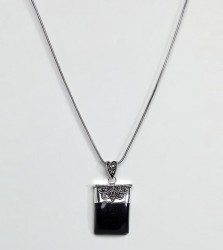 Reclaimed Vintage Inspired Onyx Pendant Necklace - Silver