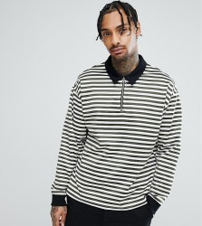 Reclaimed Vintage Inspired Over Sized Long Sleeve Polo Stripe - Green