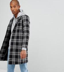 Reclaimed Vintage Inspired Overcoat In Black Check - Black