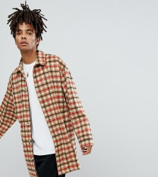 Reclaimed Vintage Inspired Overcoat In Tan Check - Tan