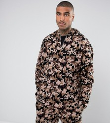 Reclaimed Vintage Inspired Oversized Camo Overhead Jacket With Hood And Half Zip - Brown