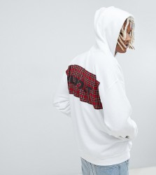 Reclaimed Vintage inspired oversized check sold out hoodie - White