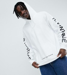 Reclaimed Vintage inspired oversized logo hoodie in white - White
