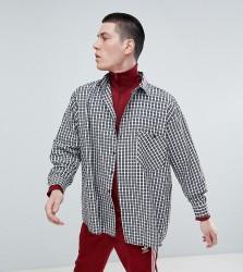Reclaimed Vintage Inspired Oversized Shirt In Navy Check - Navy