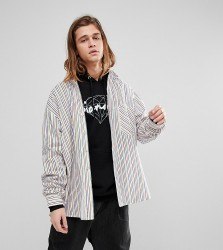 Reclaimed Vintage Inspired Oversized Shirt In Rainbow Stripe - White