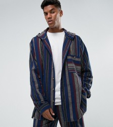 Reclaimed Vintage Inspired Oversized Shirt With Hood In Stripe - Blue