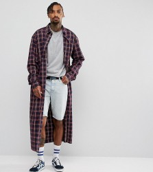 Reclaimed Vintage Inspired Oversized Super Longline Shirt In Checked Flannel - Red