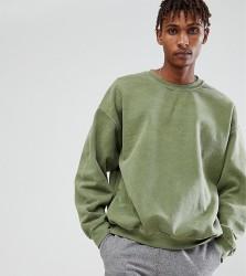 Reclaimed Vintage Inspired Oversized Sweatshirt In Khaki Overdye - Green