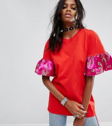 Reclaimed Vintage Inspired Oversized T-Shirt With Brocade Ruffle Sleeves - Red