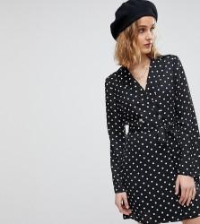 Reclaimed Vintage Inspired Polka Dot Tux Dress - Black
