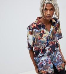 Reclaimed Vintage inspired printed revere collar shirt - Multi