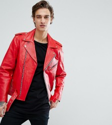 Reclaimed Vintage Inspired Real Leather Biker Jacket - Red
