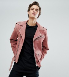 Reclaimed Vintage Inspired Real Suede Biker Jacket - Pink