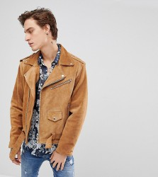 Reclaimed Vintage Inspired Real Suede Biker Jacket - Tan