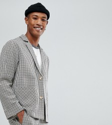 Reclaimed Vintage Inspired Relaxed Blazer In Mini Dogstooth Check - Brown