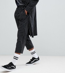 Reclaimed Vintage Inspired Relaxed Cropped Trouser In Stripe - Black