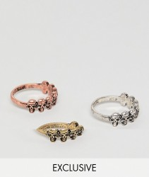 Reclaimed Vintage inspired ring pack with skulls and mixed metals exclusive at ASOS - Multi