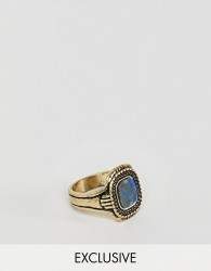 Reclaimed Vintage inspired ring with semi precious stone in burnished gold exclusive at ASOS - Gold