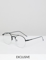 Reclaimed Vintage Inspired Round Clear Lens Glasses In Black - Black