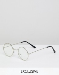 Reclaimed Vintage Inspired Round Clear Lens Glasses In Silver - Silver