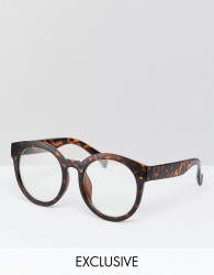 Reclaimed Vintage Inspired Round Clear Lens Glasses In Tort Exclusive To ASOS - Brown