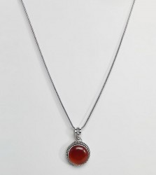 Reclaimed Vintage Inspired Round Red Stone Pendant Necklace - Silver